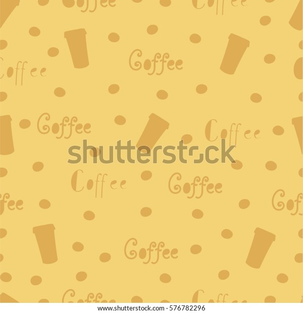 61c42f93b41 light beige seamless background on a coffee theme with silhouettes of coffee  beans, cups,