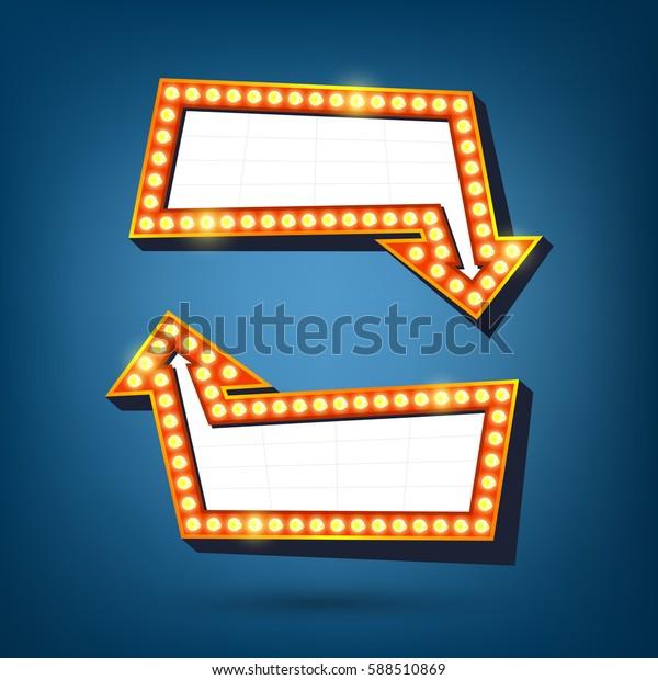 Light billboard with arrow. Light Bulbs Vintage Style. Vector illustration.