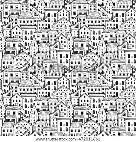 Light Black White Seamless Pattern Houses Stock Vektorgrafik