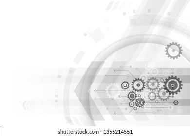 Light black and white vector circuit boards stacked on gear, along with communication concepts on a white background for technology background.