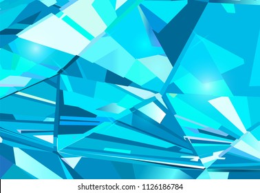 Light blue abstract background made of blue crystals. Vector design.