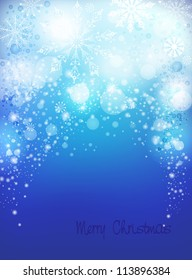 Light blue abstract Christmas background with white snowflakes. Vertical