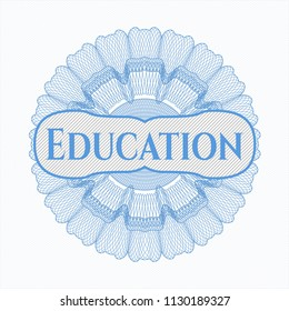 Light blue abstract linear rosette with text Education inside