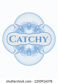 Light blue abstract linear rosette with text Catchy inside