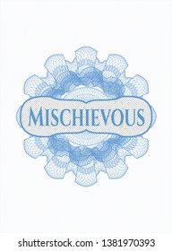 Light blue abstract linear rosette with text Mischievous inside