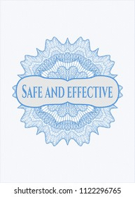 Light blue abstract rosette with text Safe and effective inside