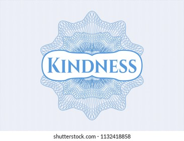 Light blue abstract rosette with text Kindness inside
