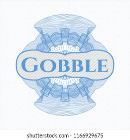 Light blue abstract rosette with text Gobble inside