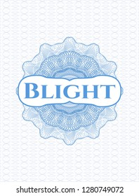 Light blue abstract rosette with text Blight inside