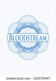 Light blue abstract rosette with text Bloodstream inside