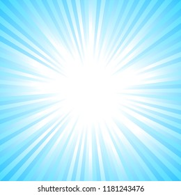 Light blue abstract sun burst background - gradient sunlight vector graphic from radial stripes