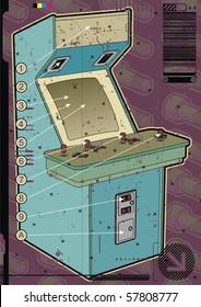 Light blue arcade machine on a mauve screw background.