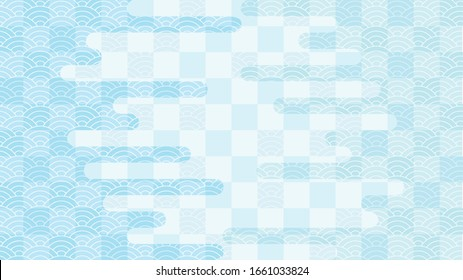 Light blue background illustration with check pattern, continuous ripple pattern, and haze pattern.