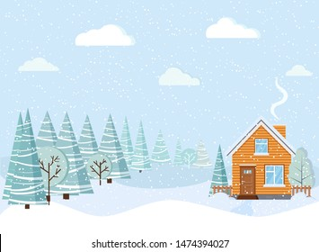 Light blue beautiful winter landscape with country house with chimney, snowy fields, winter trees, spruces, clouds, snow in cartoon style. Christmas vector background illustration. Flat design.