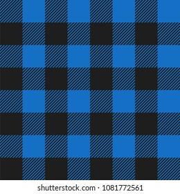 Light Blue and Black Buffalo Check Plaid Seamless Pattern - Classic style light blue and black buffalo check flannel plaid seamless pattern