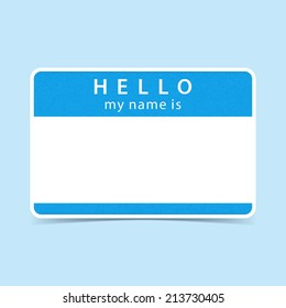 Light blue blank name tag sticker HELLO my name is. Rounded rectangular badge with gray drop shadow on color background. Vector illustration clip-art element for design in 10 eps