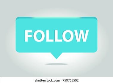Light Blue Button Follow vector icon. Flat Social Media Sign