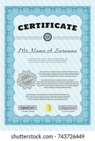 Light blue Certificate of achievement. With complex background. Customizable, Easy to edit and change colors. Nice design.