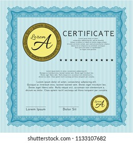 Light blue Certificate of achievement template. With great quality guilloche pattern. Artistry design. Detailed.