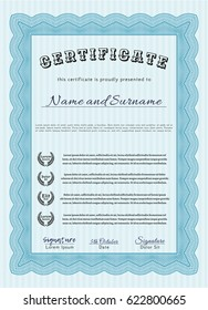 Light blue Certificate of achievement template. Sophisticated design. Detailed. With linear background.