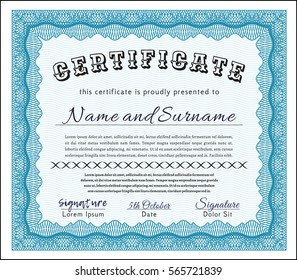 Light blue Certificate diploma or award template. Printer friendly. Superior design. Vector illustration.