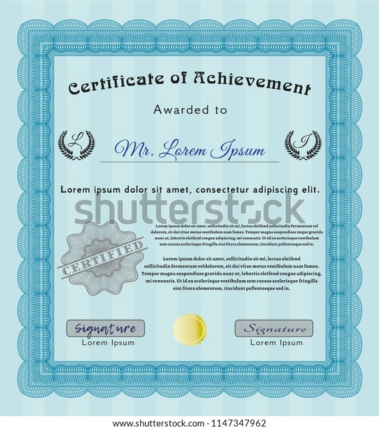 Light blue Certificate diploma or award template. Money Pattern design. Printer friendly. Detailed.
