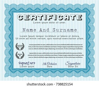 Light blue Certificate or diploma template. Cordial design. With linear background. Detailed.