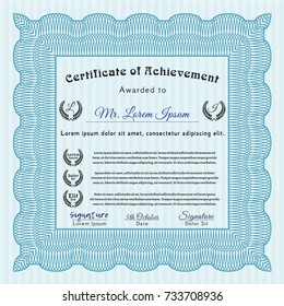 Light blue Certificate template. With guilloche pattern and background. Artistry design. Vector illustration.