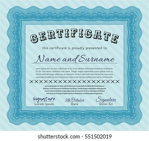 Light blue Certificate template. Money design. With great quality guilloche pattern. Detailed.