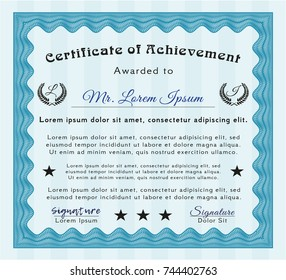 Light blue Certificate template. With quality background. Detailed. Lovely design.