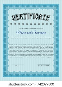 Light blue Certificate. Vector illustration. With complex linear background. Money design.