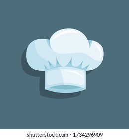 Light blue chef hat. White isolated cook's cap with a small shadow on a grey background. Stock vector. Flat cartoon illustration.