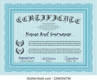 Light blue Classic Certificate template. Easy to print. Customizable, Easy to edit and change colors. Money design.