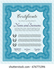 Light blue Classic Certificate template. Superior design. With complex linear background. Detailed.