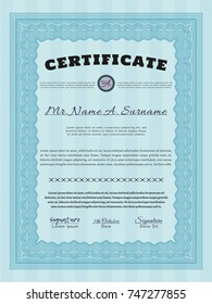 Light blue Classic Certificate template. Money Pattern design. Detailed. With background.