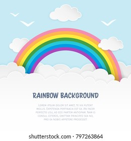 Light blue cloudscape background with birds silhouettes and rainbow. Cloudy soft landscape background. Clean and minimal paper art. Baby room decor. Vector Illustration.