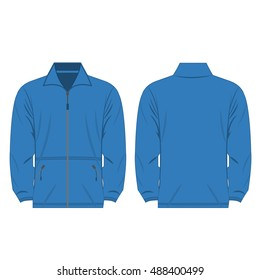 light blue color fleece outdoor jacket isolated vector on the white background