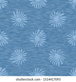Light blue denim marl seamless pattern with patterned daisy. Jeans bleached texture fabric textile. Vector dyed cotton melange t shirt all over print.