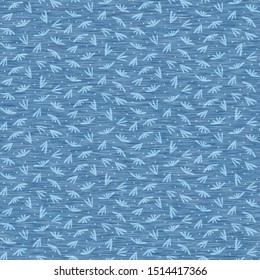Light blue denim marl seamless pattern with patterned leaves. Jeans texture fabric textile. Vector dyed cotton melange t shirt all over print.