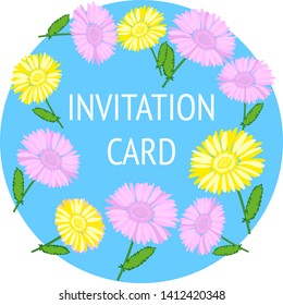 Light blue design template card of invitation with beautiful pink and yellow flowers