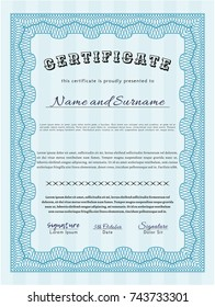 Light blue Diploma or certificate template. Perfect design. Detailed. With linear background.