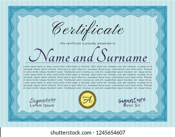 Light blue Diploma template or certificate template. Retro design. With guilloche pattern and background. Detailed.