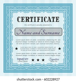 Light blue Diploma template or certificate template. Easy to print. Vector illustration. Perfect design.