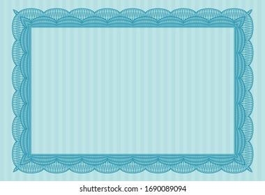 Light blue Diploma template. Complex background. Artistry design. Vector illustration.