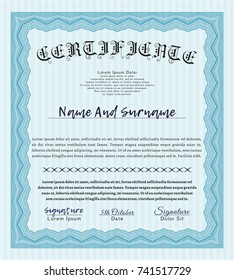 Light blue Diploma template. Nice design. Vector illustration. With quality background.