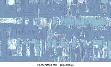 Light blue fabric, vector cross hatching strokes on canvas. Oil, acrylic paint texture set. Abstract grungy backgrounds, hand drawn denim pattern