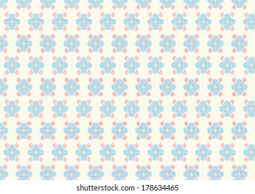 Light blue flower and soft pink spiral on pastel color. Sweet flower style