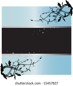 Light blue flowery sign with starry inset cutout