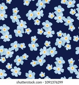 Light blue forget-me-not myosotis ditsy flowers on dark blue navy background. Spring summer floral seamless pattern texture. Vector design illustration for decoration, fashion, fabric, textile.