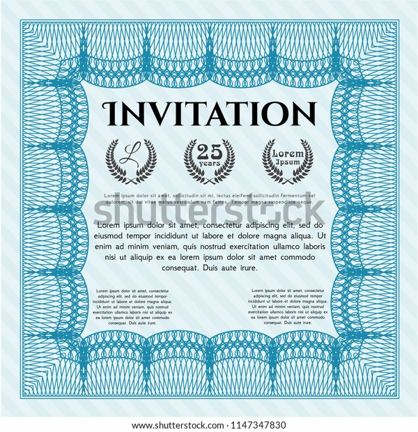 Light blue Formal invitation. Cordial design. With guilloche pattern and background. Vector illustration.